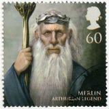 GRÂ BRETANHA - 2011: mostra o retrato de Merlin, legenda Arthurian foto de stock royalty free