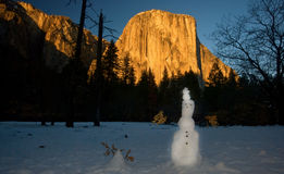 Gr Capitan en sneeuwman Stock Afbeeldingen