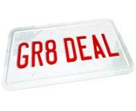 Gr8 de Grote Prijs van de Overeenkomstennummerplaat op een Gebruikte of Nieuwe Auto vector illustratie