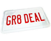 Gr8 Deal License Plate Great Price on a Used or New Car. A license plate with the letters GR8 DEAL representing the savings you find on a great used or new Royalty Free Stock Image