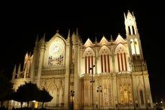 Gr Expiatorio, volledige mening bij nacht, Leon, Guanajuato royalty-vrije stock foto