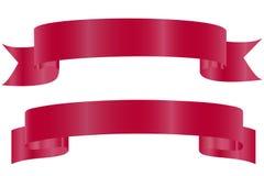 Gr?fico del vector Cintas curvadas brillantes rojas aisladas en el fondo blanco Dise?o realista, elemento para saludar o regalo stock de ilustración
