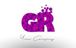 GR G R Dots Letter Logo con textura púrpura de las burbujas Fotografía de archivo