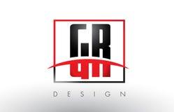 GR G R Logo Letters con colores rojos y negros y Swoosh Fotografía de archivo