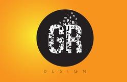 GR G R Logo Made de pequeñas letras con el círculo negro y B amarillo Fotos de archivo