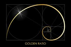 Golden ratio. Harmonic division. Golden ratio. Fibonacci number. Circles in golden proportion. Geometric shapes. Logo. Abstract background. Vector illustration vector illustration