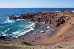 Gr Golfo, dichtbij de groene lagune, in Lanzarote, Spanje stock foto