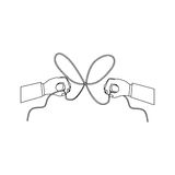 2016 12 06 GR 1612 A. Hand and bowtie rope icon. Cord string cable and knot theme. Isolated design. Vector illustration Stock Image