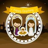 2014 11 14 GR 785. Happy epiphany design over desertscape  background, vector illustration Royalty Free Stock Photos