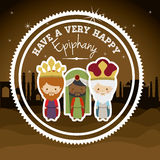 2014 11 14 GR 785. Happy epiphany design over desertscape  background, vector illustration Stock Photo
