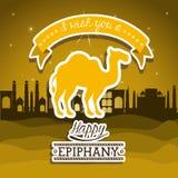 2014 11 14 GR 785. Happy epiphany design over desertscape  background, vector illustration Stock Image