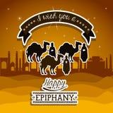 2014 11 14 GR 785. Happy epiphany design over desertscape  background, vector illustration Royalty Free Stock Photo