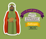 2014 11 14 GR 785. Happy epiphany design over green background, vector illustration Royalty Free Stock Photo
