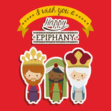 2014 11 14 GR 785. Happy epiphany design over red background, vector illustration Stock Photo