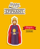 2014 11 14 GR 785. Happy epiphany design over yellow background, vector illustration Royalty Free Stock Photo