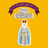 2014 11 14 GR 785. Happy epiphany design over yellow background, vector illustration Royalty Free Stock Images