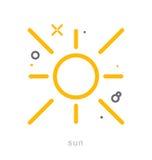 Gör linjen symboler, sol tunnare Royaltyfri Bild