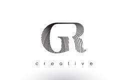 GR Logo Design With Multiple Lines and Black and White Colors. Royalty Free Stock Photography