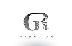 GR Logo Design With Multiple Lines y colores blancos y negros Fotografía de archivo libre de regalías