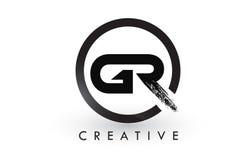 GR muśnięcia listu loga projekt Kreatywnie Oczyszczony list ikony logo royalty ilustracja