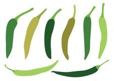 Gr?n chili p? vit bakgrund stock illustrationer