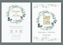 Gr?n-Hochzeits-Einladung, Schablonen-Eukalyptus-Hochzeits-Einladung lizenzfreie abbildung