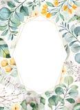 Gr?ne Illustration des Aquarells Vor-gemachte Gru?karte mit saftigen Anlagen, Palmbl?tter, Blumen, Niederlassungen lizenzfreie abbildung