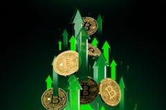 Gr?ne Pfeilsch?sse oben mit hoher Geschwindigkeit als Preisaufstiegen Bitcoin BTC Cryptocurrency-Preise wachsen, hohes Risiko - h stock abbildung