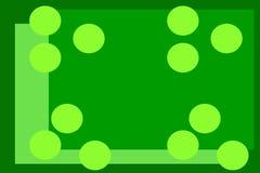 Gr?ner Hintergrund mit Kreisen gelbe Kreise auf einem grünen Hintergrund Geometrisches Muster grüne Hintergrundabstraktion stock abbildung