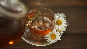 Gr?ner Tee mit Kamille in der Schale stock video footage