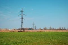 Gr?nes Feld und blauer Himmel, in den AbstandsStromleitungen mit vielen Dr?hten stockbilder