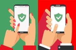 Gr?nes Schild auf Smartphoneschirm Mann und weibliche Hände halten den Smartphone- und FingerTouch Screen Ikonenkonzept des Netz- lizenzfreie abbildung