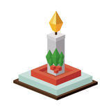 2016 10 31 GR 1488 NP p. Isometric candle icon. Christmas season decoration and celebration theme. Isolated design. Vector illustration stock illustration