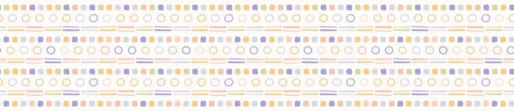 Gr?nsar utdragna texturerade prickcirklar f?r hand den s?ml?sa modellen Knapph?ndiga organiska fnoskiga linjer vektorillustration royaltyfri illustrationer