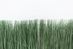 Gr?nt konstgjort gr?s p? en vit bakgrund Tunt gräs i en ljus kruka royaltyfria bilder