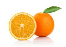 grön half orange för leaf en Arkivbild