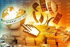 Gör pengar online-begreppet Fotografering för Bildbyråer