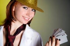 grępluje kapeluszowej kobiety Obraz Stock
