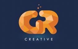 GR pone letras con el logotipo de los triángulos de la papiroflexia Amarillo-naranja creativo o Imagen de archivo