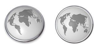 grå översiktsvärld för knapp 3d Royaltyfri Bild