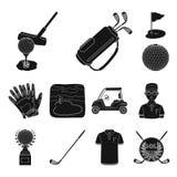 Grać w golfa i atrybut czarne ikony w ustalonej kolekci dla projekta Kija Golfowego i wyposażenia symbolu zapasu wektorowa sieć royalty ilustracja