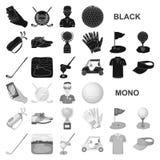 Grać w golfa i atrybut czarne ikony w ustalonej kolekci dla projekta Kija Golfowego i wyposażenia symbolu zapasu wektorowa sieć ilustracji