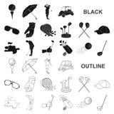 Grać w golfa i atrybut czarne ikony w ustalonej kolekci dla projekta Kija Golfowego i wyposażenia symbolu zapasu wektorowa sieć ilustracja wektor
