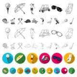 Grać w golfa i atrybut płaskie ikony w ustalonej kolekci dla projekta Kija Golfowego i wyposażenia wektorowy symbol zaopatruje si ilustracja wektor