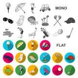 Grać w golfa i atrybut płaskie ikony w ustalonej kolekci dla projekta Kija Golfowego i wyposażenia wektorowy symbol zaopatruje si ilustracji