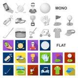 Grać w golfa i atrybut płaskie ikony w ustalonej kolekci dla projekta Kija Golfowego i wyposażenia wektorowy symbol zaopatruje si royalty ilustracja