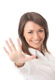 göra en gest för affärskvinna Fotografering för Bildbyråer