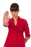 göra en gest tonårs- flickateckenstopp Arkivbilder