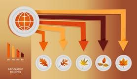 Gra globale infographic di autunno degli elementi di stagione di caduta illustrazione di stock