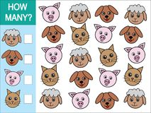 Gra liczyć ile zwierząt Matematycznie gra dla dzieci ilustracja wektor
